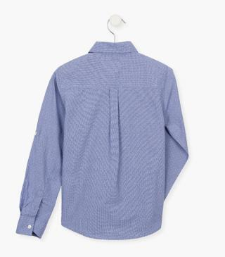 Blue shirt with long sleeves.