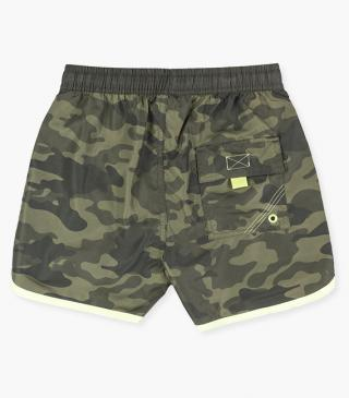 Camo print swim trunks.