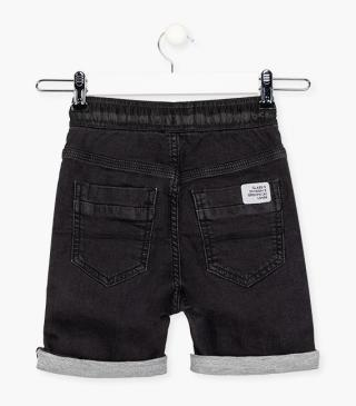 Denim-effect plush shorts in grey.