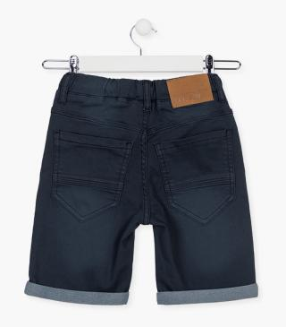 Blue plush denim shorts.