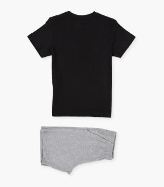 Shorts & short sleeve tee set in a knit fabric.