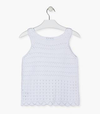 Knit tee with see-through detailing.