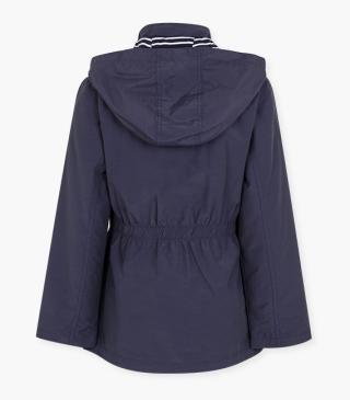 Blue jacket with a detachable hood.