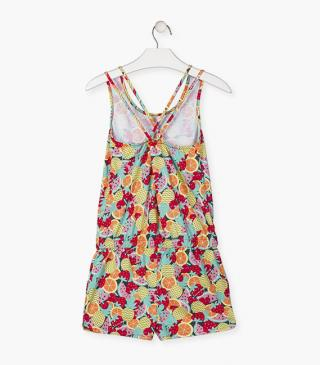 Sleeveless short jumpsuit with fruit motif.