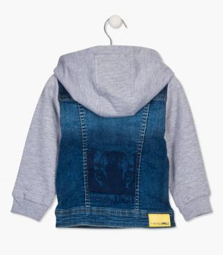 Fabric mix denim jacket.