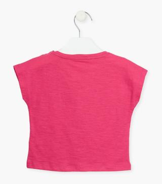 Short sleeve t-shirt in pink.