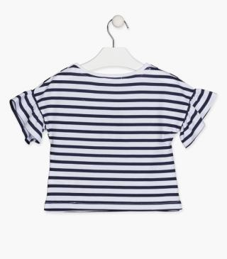 Striped t-shirt in blue.