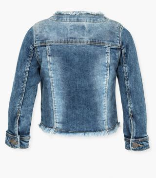 Denim jacket with raw edge neckline and hem.