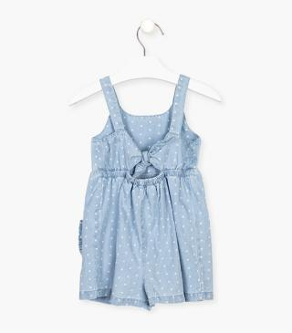 Cotton dungaree with dots.