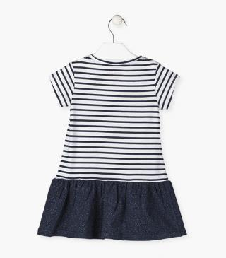 Knit dress with short sleeves and striped bodice.