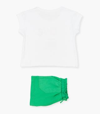 Front graphic t-shirt & shorts set.