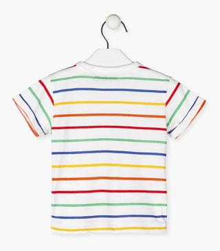 Rainbow stripe tee.