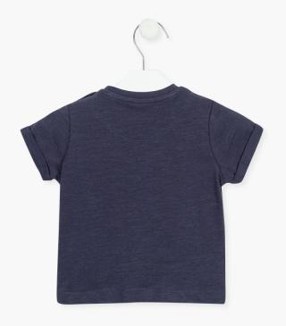 Navy blue t-shirt with short sleeves.