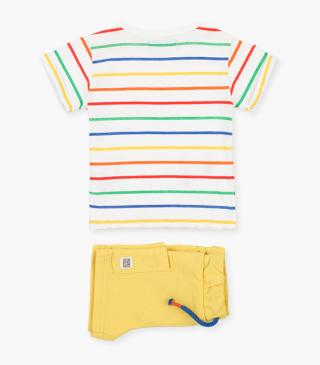 Shorts & rainbow stripe t-shirt set.