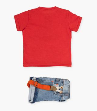 Orange t-shirt & plush shorts set.
