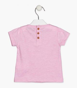 Pink tee with zebra patch.