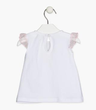 Tulle sleeve t-shirt.