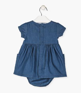 Short sleeve denim dress with knickers.