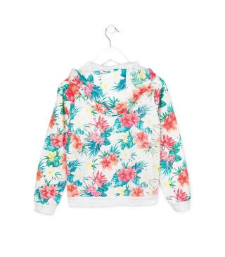 Chaqueta de estampado tropical.