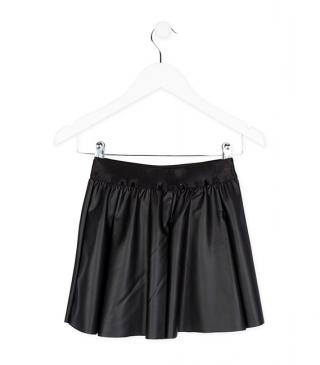 Black faux leather flare skirt.