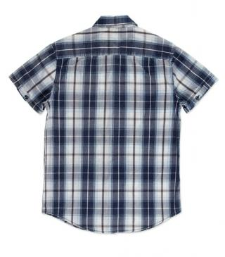 Blue cotton check shirt with pockets.