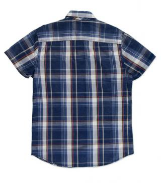 Cotton check shirt in blue with short sleeves.