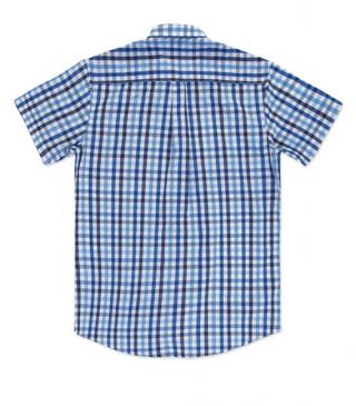 Classic blue check shirt with a pocket.