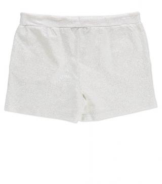 Short de felpa de color blanco con purpurina.