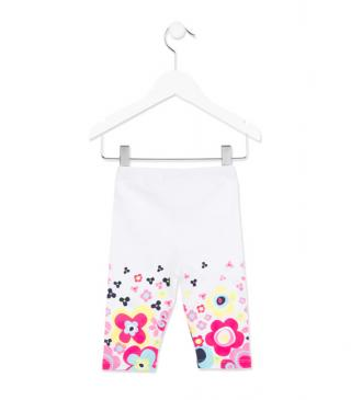 Legging en punto liso de color blanco con estampado.