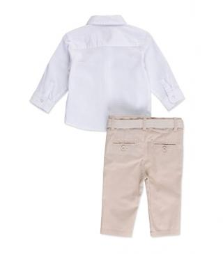 Long sleeve shirt and skinny trousers set.