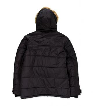 Black hooded jacket with detachable fur.