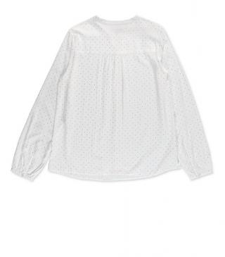 Blusa en tejido voile de color natural crudo.