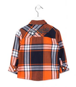 Orange check shirt.