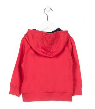 Plush jacket in red.