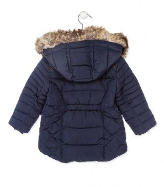 Blue quilted jacket with hood featuring faux-fur trim.