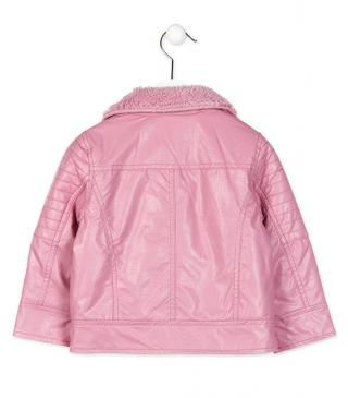 Pink jacket with furry lining.