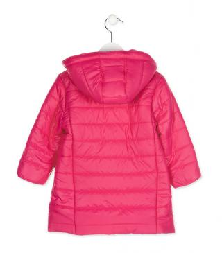 Jacket with detachable hood in pink.