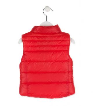 Red quilted vest.