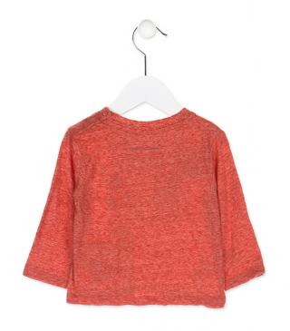 Long sleeve patch t-shirt in orange.
