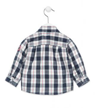 Blue check shirt with pockets.