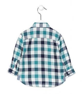 Herringbone plaid shirt in green.