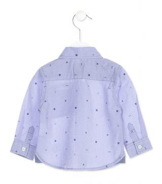 Blue printed shirt.
