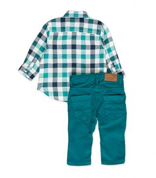 Green set featuring plaid shirt and trousers.