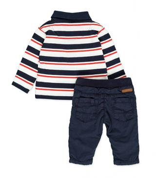 Striped polo shirt and twill trousers set.