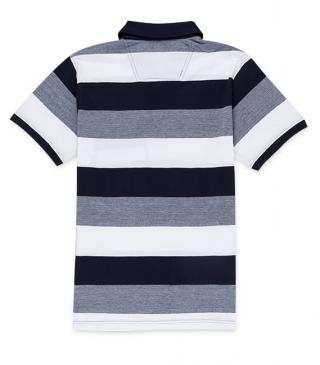 Horizontal stripe polo shirt with chest pocket.