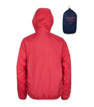 Red parka with detachable hood and bag.