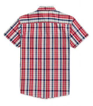 Coral red check poplin shirt.