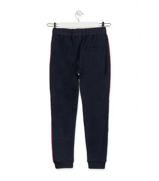 Plush trousers with side bands.