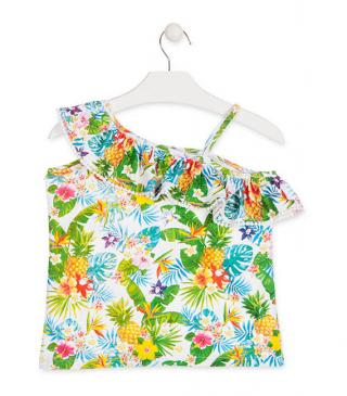 Camiseta de tirantes con estampado tropical.