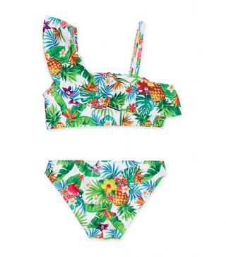 Bikini con estampado tropical.